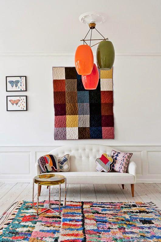 Decoración con tela en un salón Nórdico