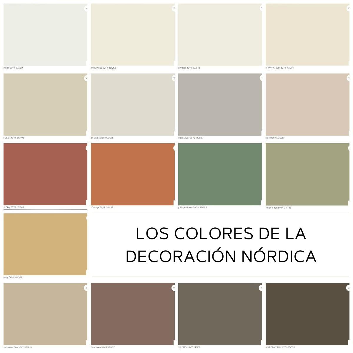 Paleta de colores de la decoración Nórdica
